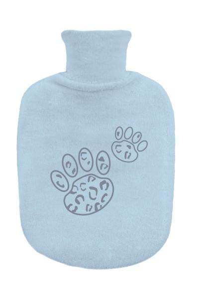 ZEWI bébé-jou Gummibettflasche mit Frotteeüberzug-blue Leopard