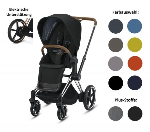 CYBEX ePriam Set-Angebot Elektro-Kinderwagen Rahmen in Chrome Brown inklusive Sportsitz