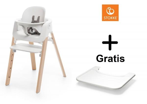 SONDERAKTION STOKKE® Steps Bundle White Seat / Natural Legs mit Baby Set & GRATIS Tray