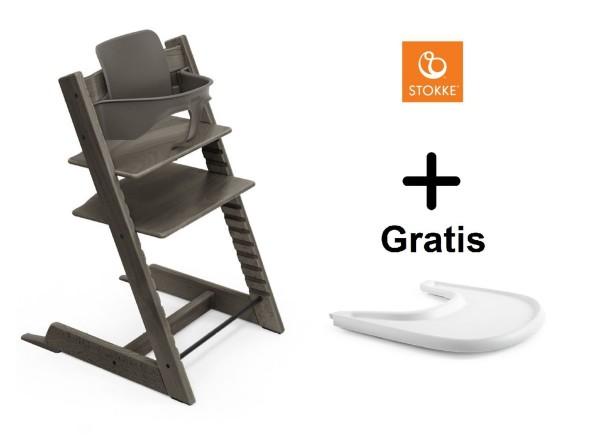 SONDERAKTION STOKKE® Tripp Trapp Hazy Grey mit Baby Set & GRATIS Tray