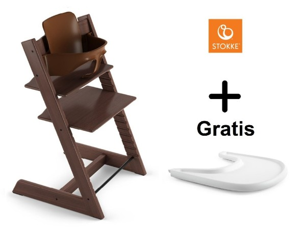 SONDERAKTION STOKKE® Tripp Trapp Walnussbraun mit Baby Set & GRATIS Tray