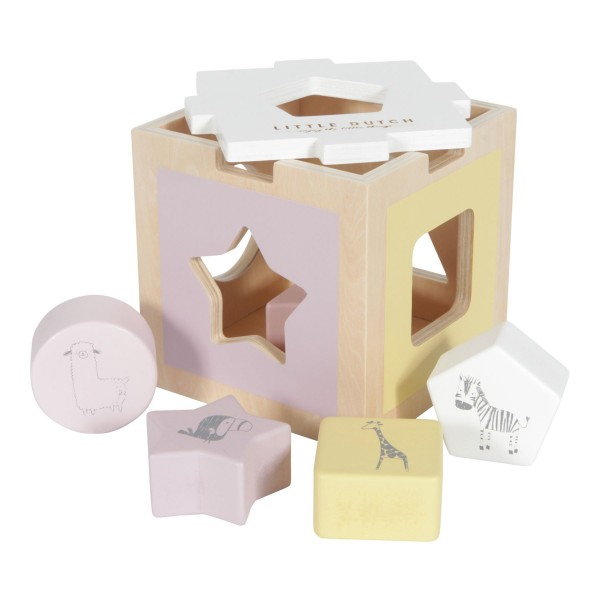 LITTLE DUTCH Holz Formen-Steck-SpielZoo - pink