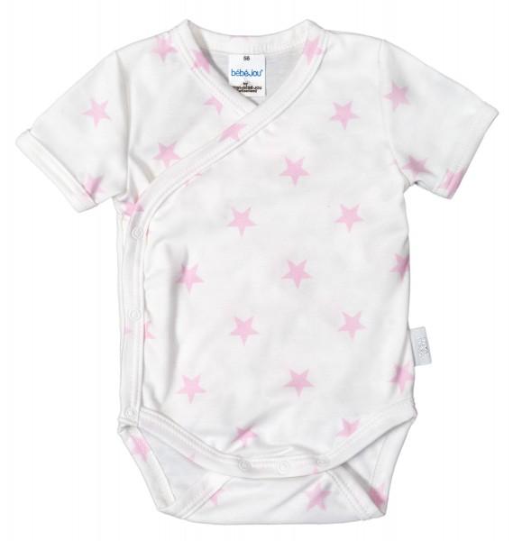 ZEWI bébé-jou Wickelbody kurzarm-white-rose Stars