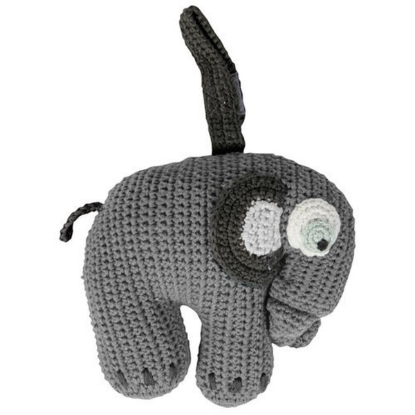 SEBRA Häkel-Spieluhr, Elefant, grau