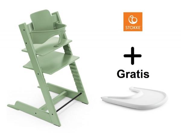 SONDERAKTION STOKKE® Tripp Trapp Moss Green mit Baby Set & GRATIS Tray