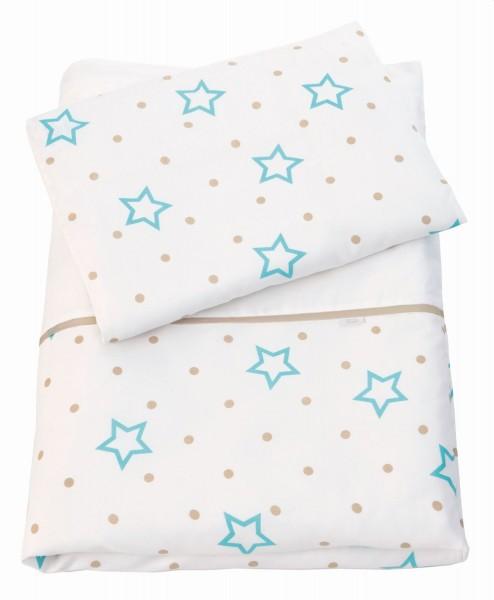 ZEWI bébé-jou Bettwäsche-white Stars + Points