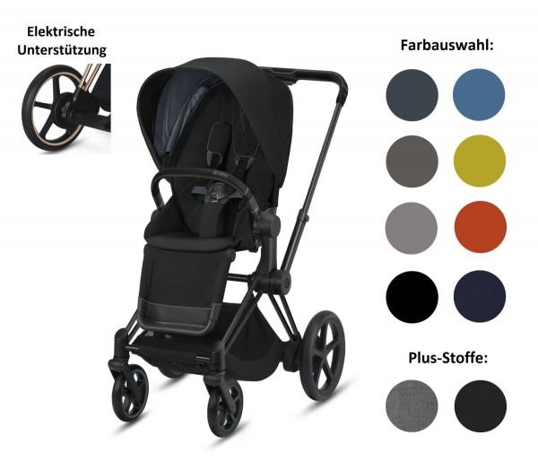 CYBEX ePriam Set-Angebot Elektro-Kinderwagen Rahmen in Matt Black inklusive Sportsitz