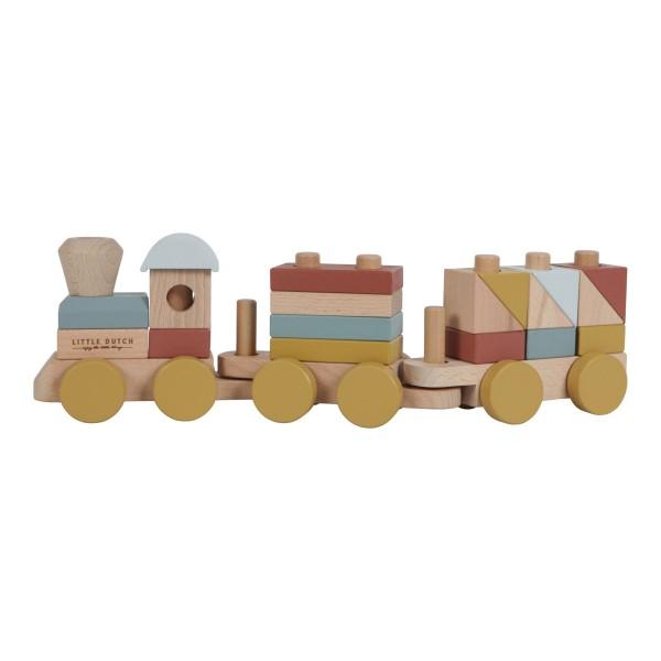 LITTLE DUTCH Holz-Eisenbahn/Zug mit Steckformen – 22-teilig