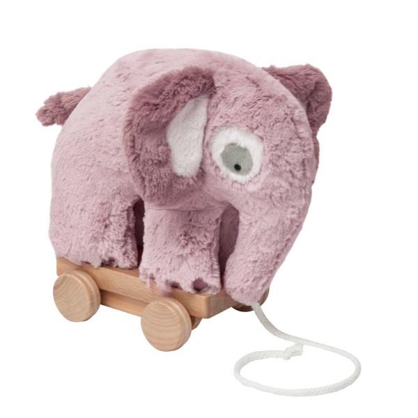 SEBRA Plüsch-Nachziehtier, Elefant, altrosa