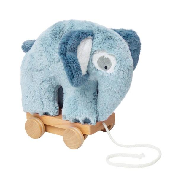 SEBRA Plüsch-Nachziehtier, Elefant, wolkenblau