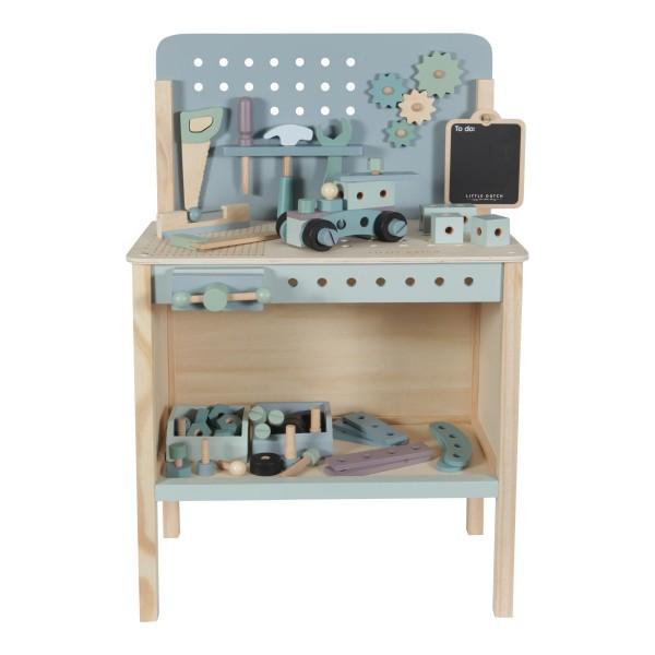 LITTLE DUTCH Spielwerkbank aus Holz mit Werkzeuggürtel