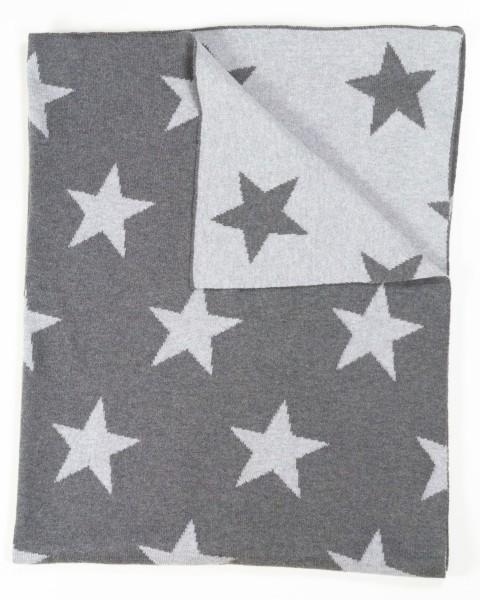 KULI MULI Baumwolldecke Sterne grau