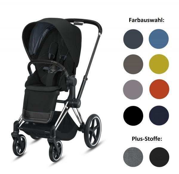 CYBEX Priam Set-Angebot Kinderwagen Rahmen in Chrome Black inklusive Sportsitz