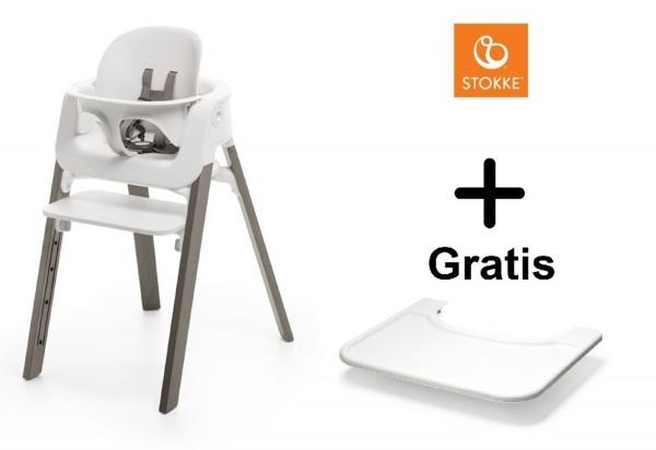 SONDERAKTION STOKKE® Steps Bundle White Seat / Hazy Grey Legs mit Baby Set & GRATIS Tray