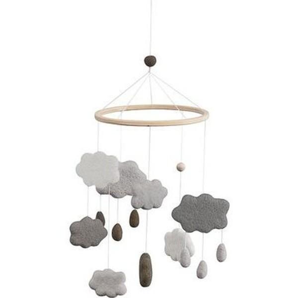 SEBRA Wolkenmobile aus Filz, warmes grau