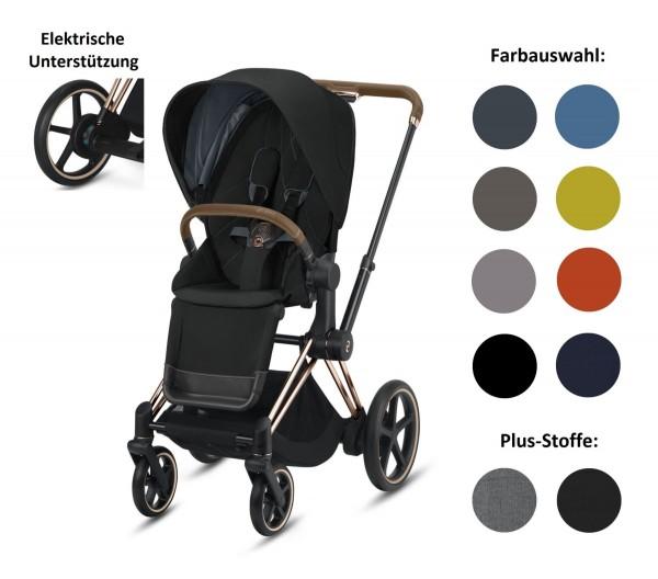 CYBEX ePriam Set-Angebot Elektro-Kinderwagen Rahmen in Rosegold inklusive Sportsitz