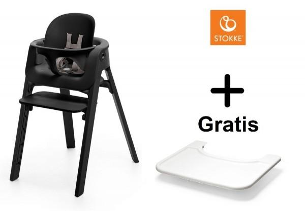 SONDERAKTION STOKKE® Steps Bundle Black Seat / Black Legs mit Baby Set & GRATIS Tray