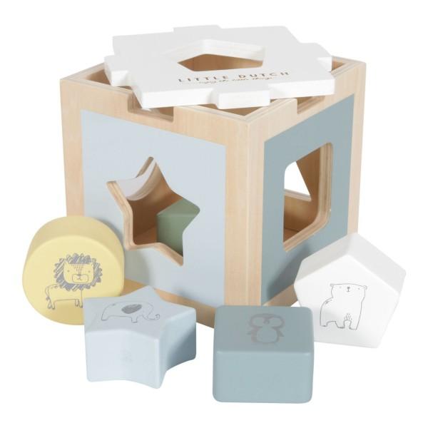 LITTLE DUTCH Holz Formen-Steck-Spiel Zoo - blue