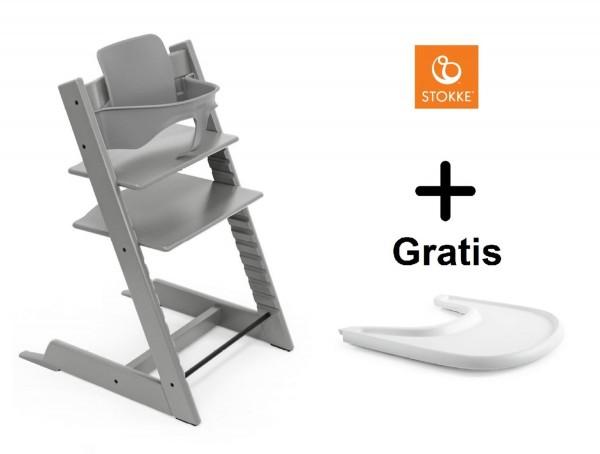 SONDERAKTION STOKKE® Tripp Trapp Storm Grey mit Baby Set & GRATIS Tray